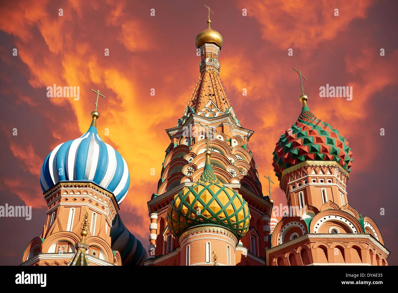 Une vue de la cathédrale Saint-Basile, Russie, Moscou Photo Stock