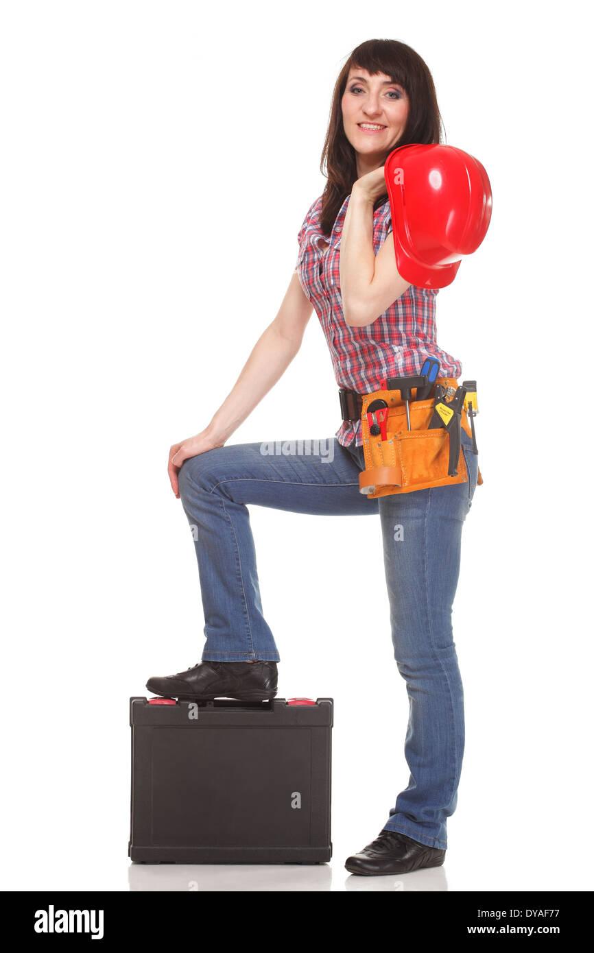 c045a3f0dc25 Femme avec casque, ceinture d outils et boîte à outils. Isolated on white