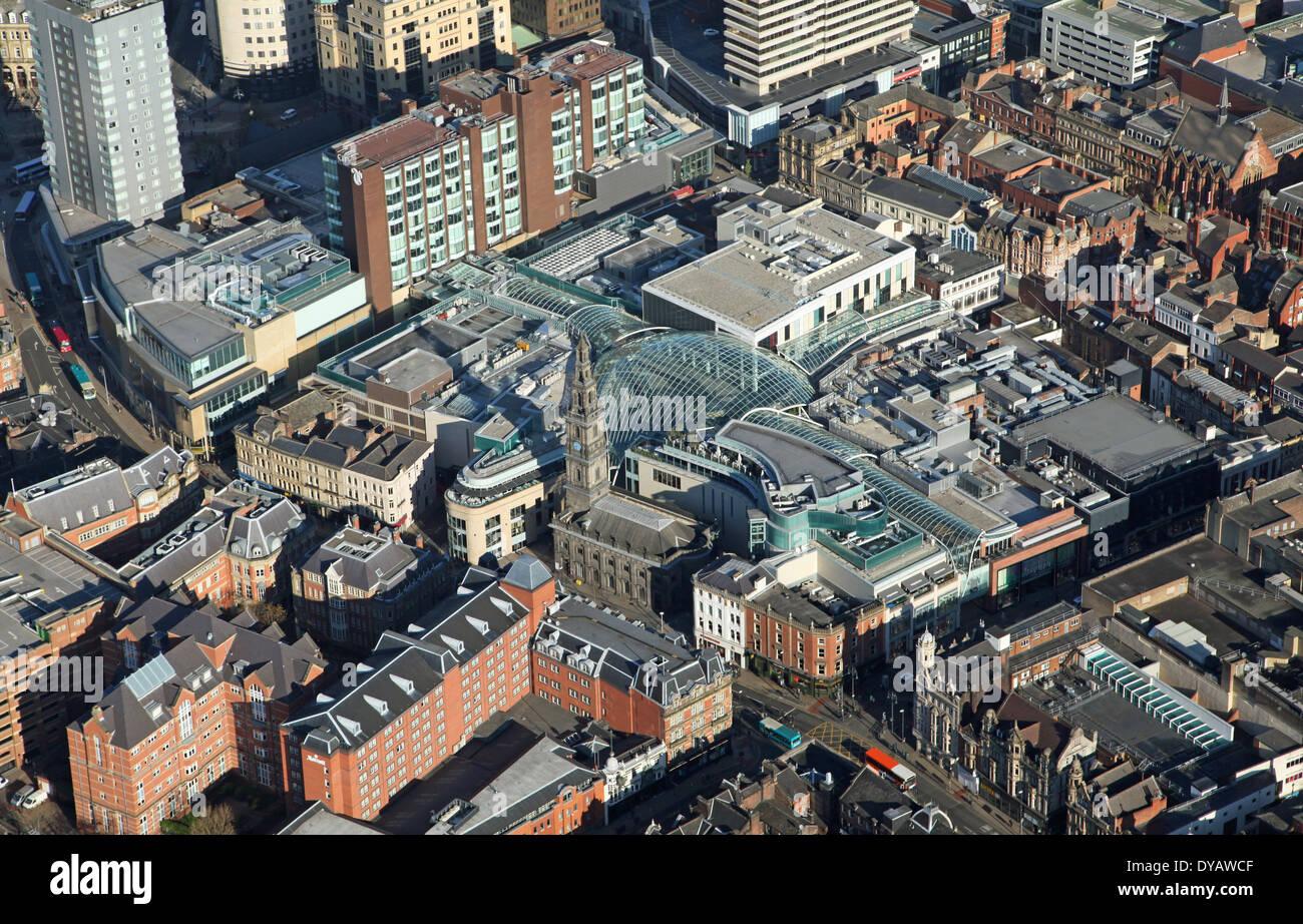 Vue aérienne de Leeds Trinity centre commercial de Leeds, West Yorkshire Photo Stock