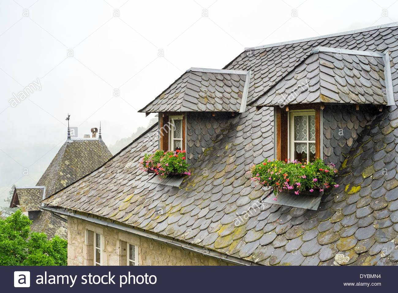 Toit de tuiles en ardoise et des lucarnes sur une maison dans la ...