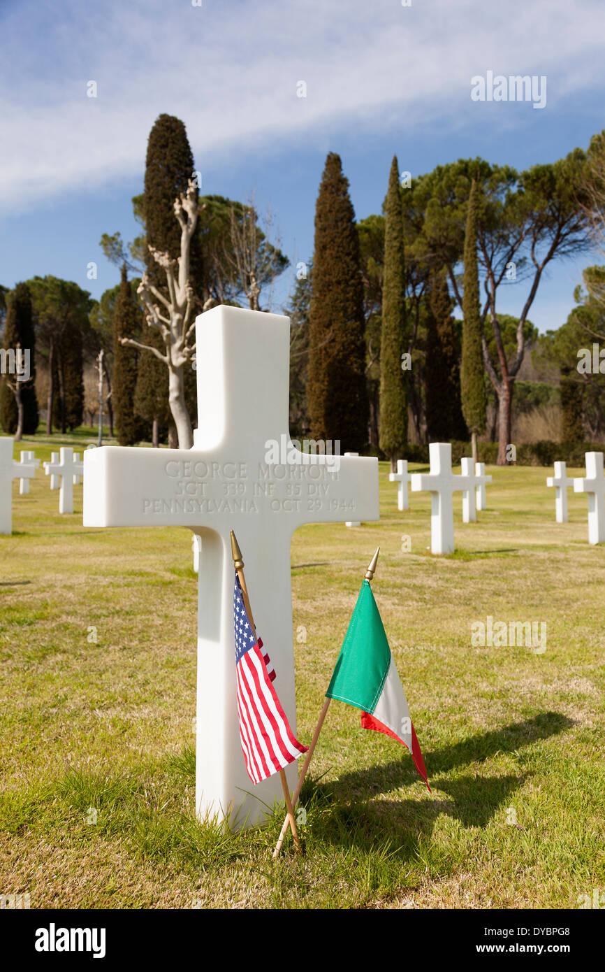 American 2e guerre mondiale Cimetière et Mémorial, Falciani, Florence, Toscane, Italie Photo Stock