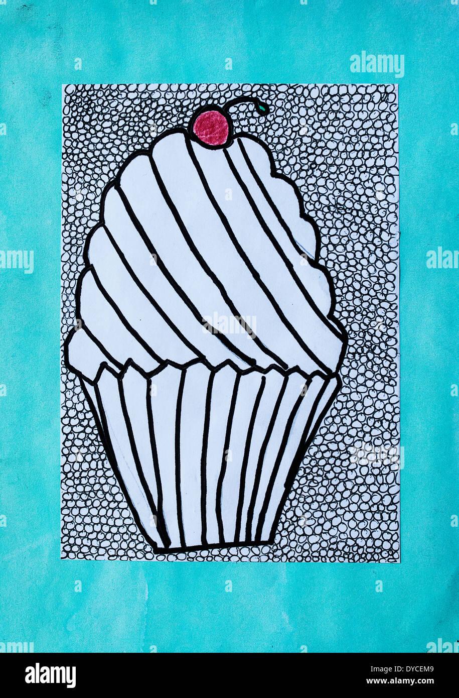 Cup Cake. L'art de l'enfant Banque D'Images