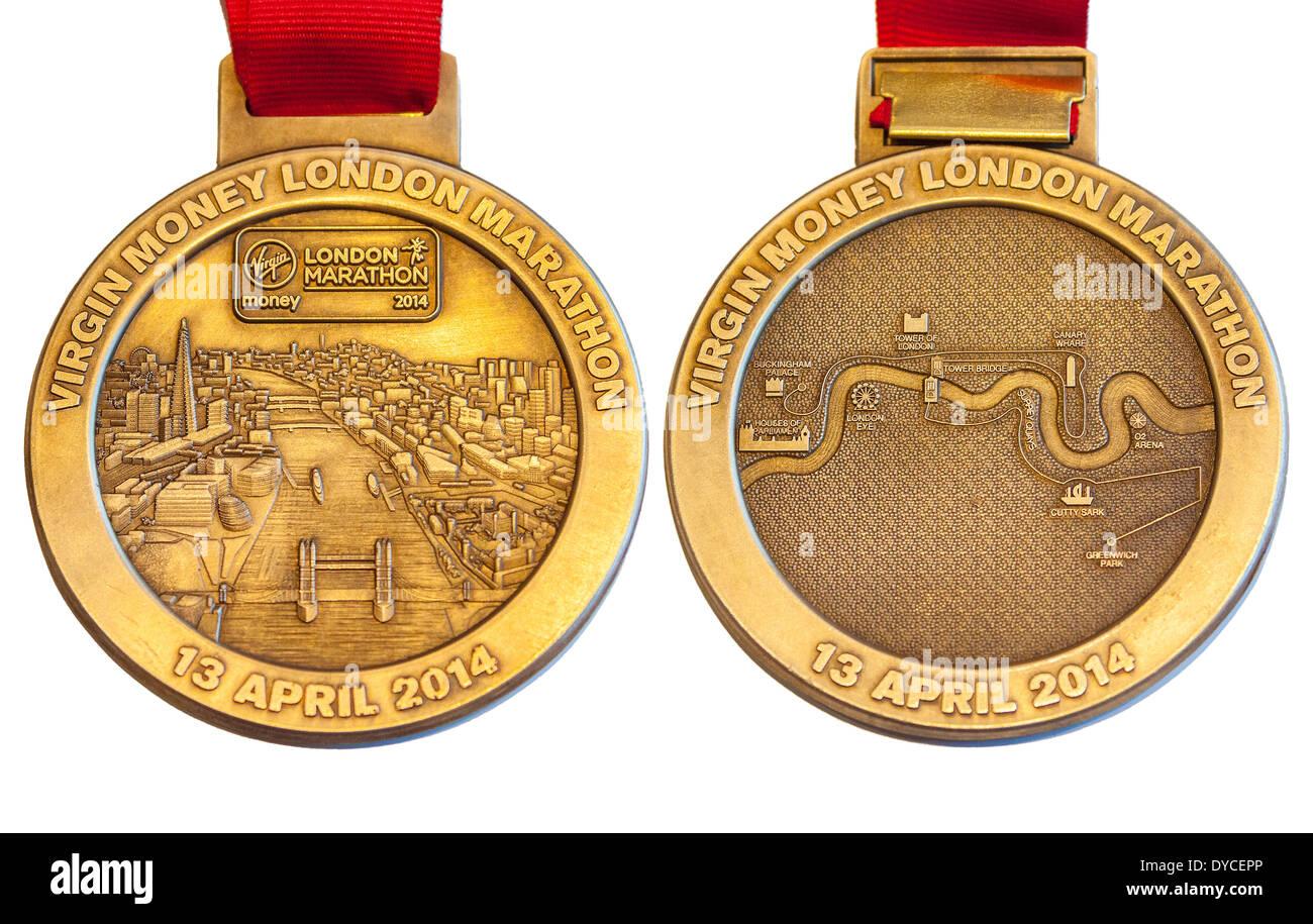London UK. 14 avril 2014 avant de composite (avers) et arrière (AR) de médaille décernée aux coureurs qui ont terminé le marathon de Londres l'argent vierge 13 Avril 2014 Crédit: John Henshall/Alamy Live News JMH6124 Photo Stock
