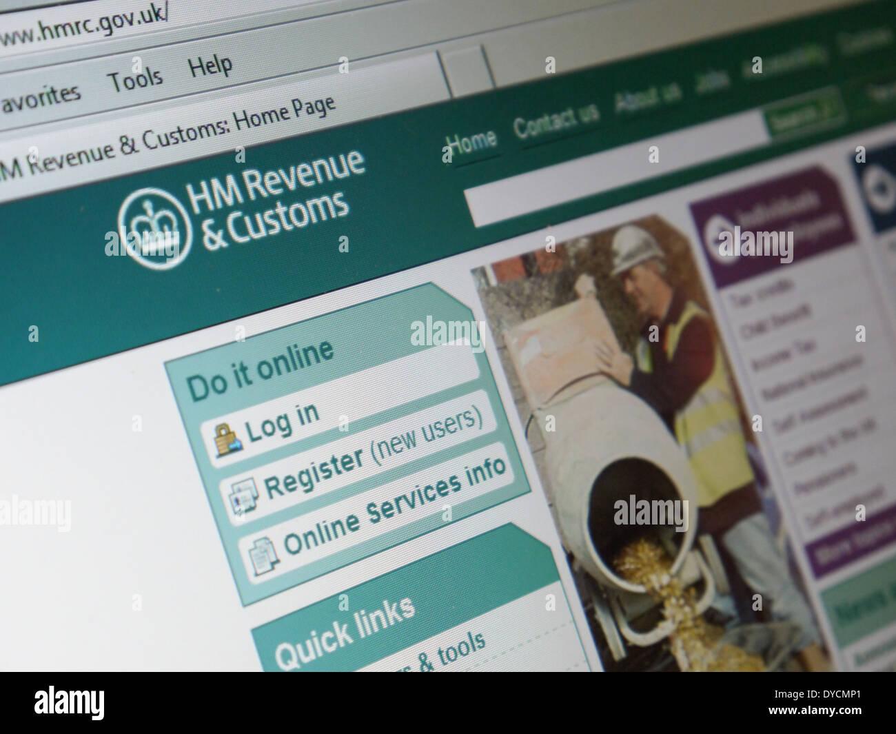 Site Web des douanes uk hm revenue Photo Stock