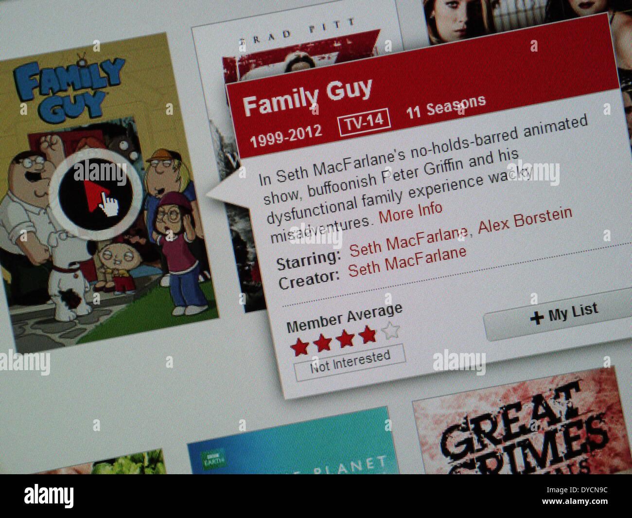 Family Guy tv show netflix en ligne Photo Stock
