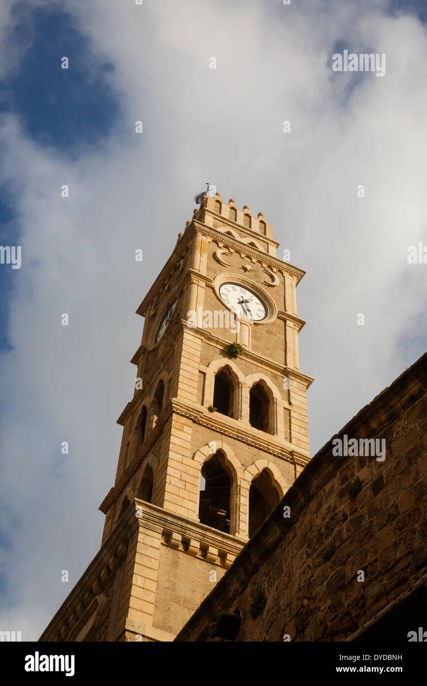 La tour de l'horloge de la vieille ville d'Akko (Acre), Israël. Photo Stock
