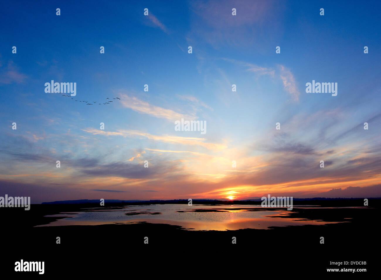 Vue de la réserve naturelle de Rye Harbour au coucher du soleil. Photo Stock