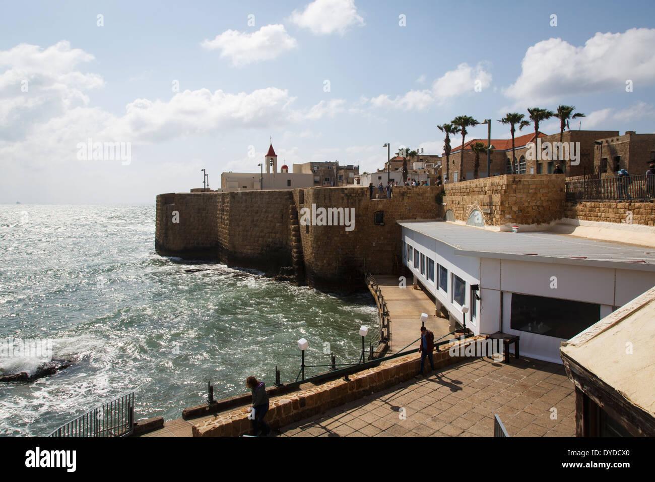 Vue sur les remparts de la vieille ville, Akko (Acre), Israël. Photo Stock