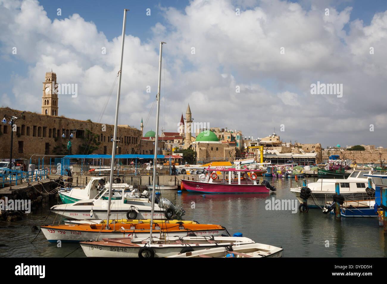 Le port dans la vieille ville d'Akko (Acre), Israël. Photo Stock