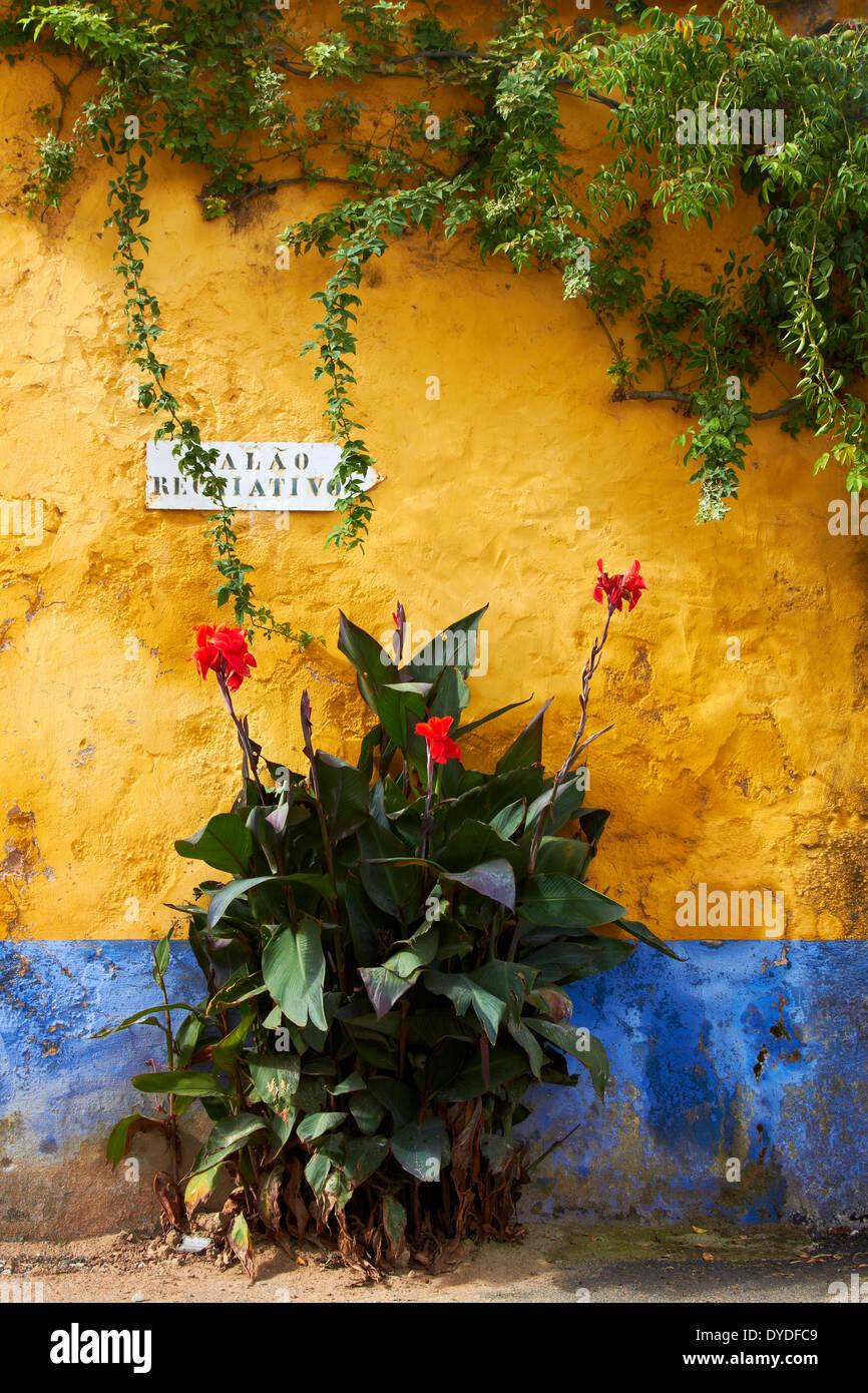 Un mur dans une partie reculée de l'espace rural au Portugal. Photo Stock