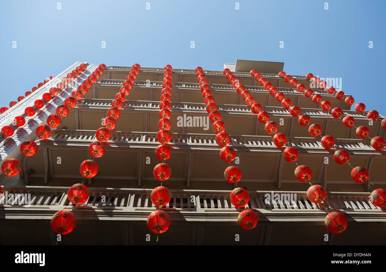 Bangkok, quartier chinois, Thaïlande, Asie, Chinois, lanternes, nouvel an, rouge Photo Stock