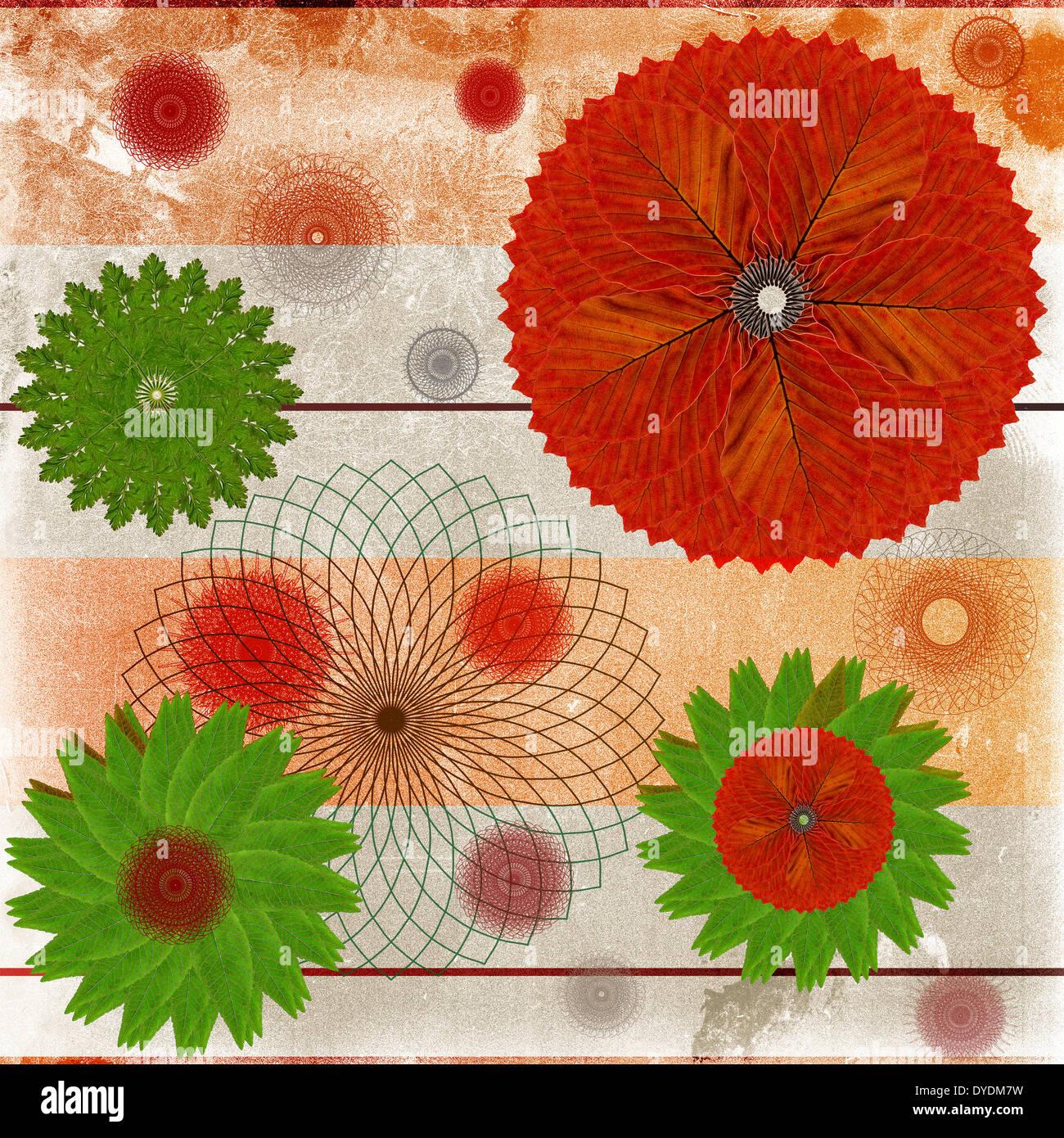 Carte décorative ou résumé fond avec motif en feuille floral Photo Stock