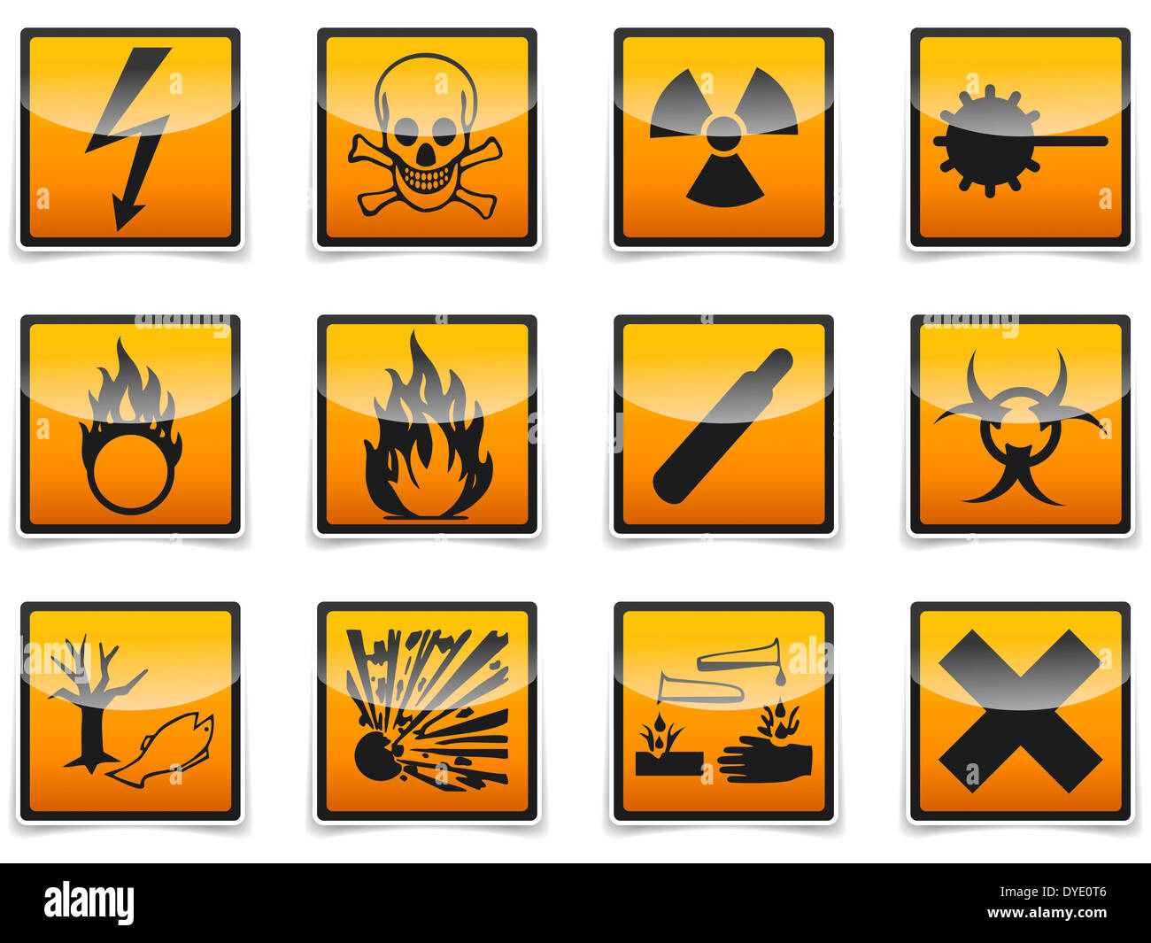 Danger Danger isolé, signe, icon collection avec ombre sur fond blanc. Banque D'Images