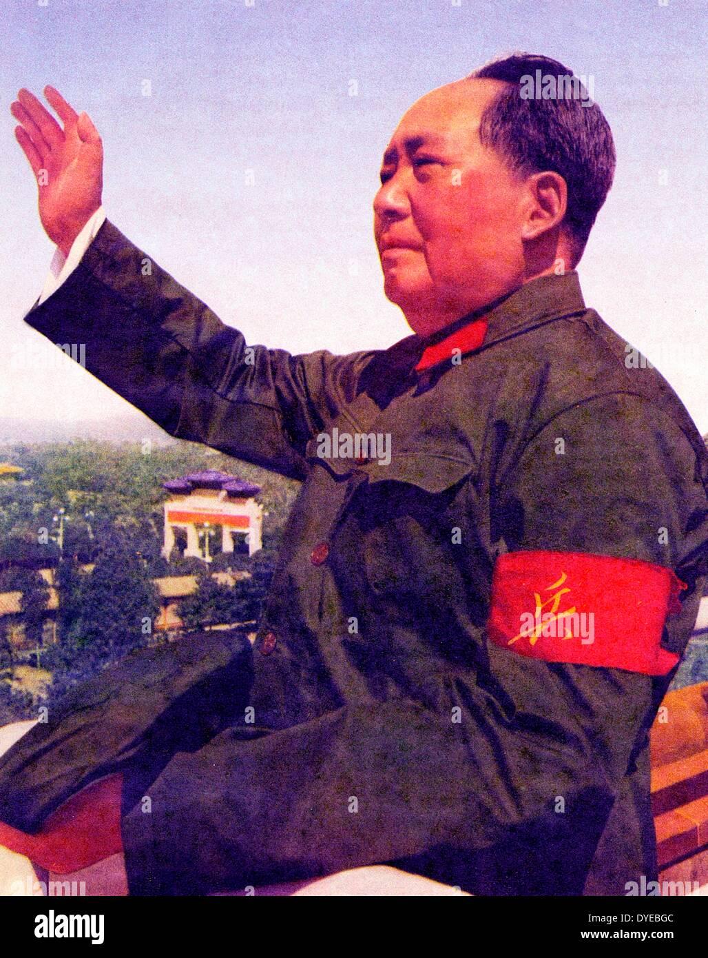 Mao Ze Dung 1893-1976. Le chef du Parti communiste chinois et le leader chinois 1949-1976 l'examen des gardes rouges Banque D'Images