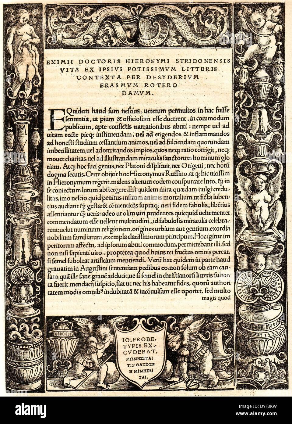 L'Amérique et Nouveau Testament Grec 1516. Photo Stock