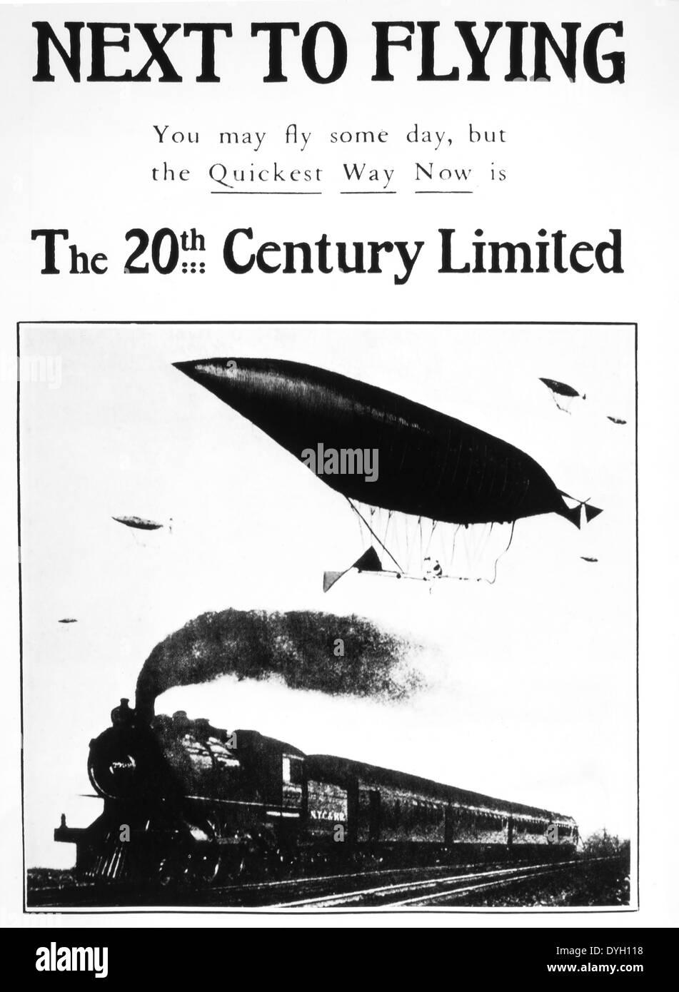 Publicité pour le 20e siècle Limited Express Train de voyageurs, USA, vers 1905 Photo Stock
