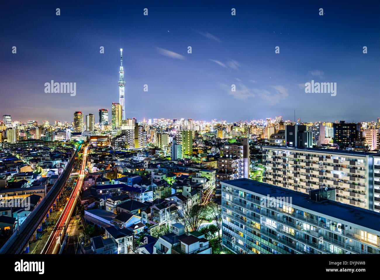 Tokyo, Japon paysage urbain avec la Skytree. Photo Stock