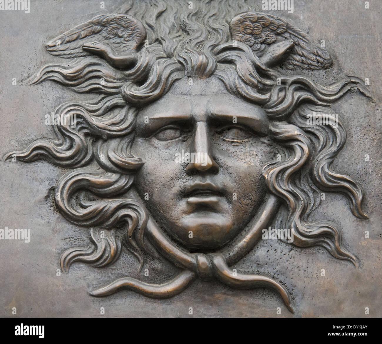 Tête de Méduse en bronze Photo Stock