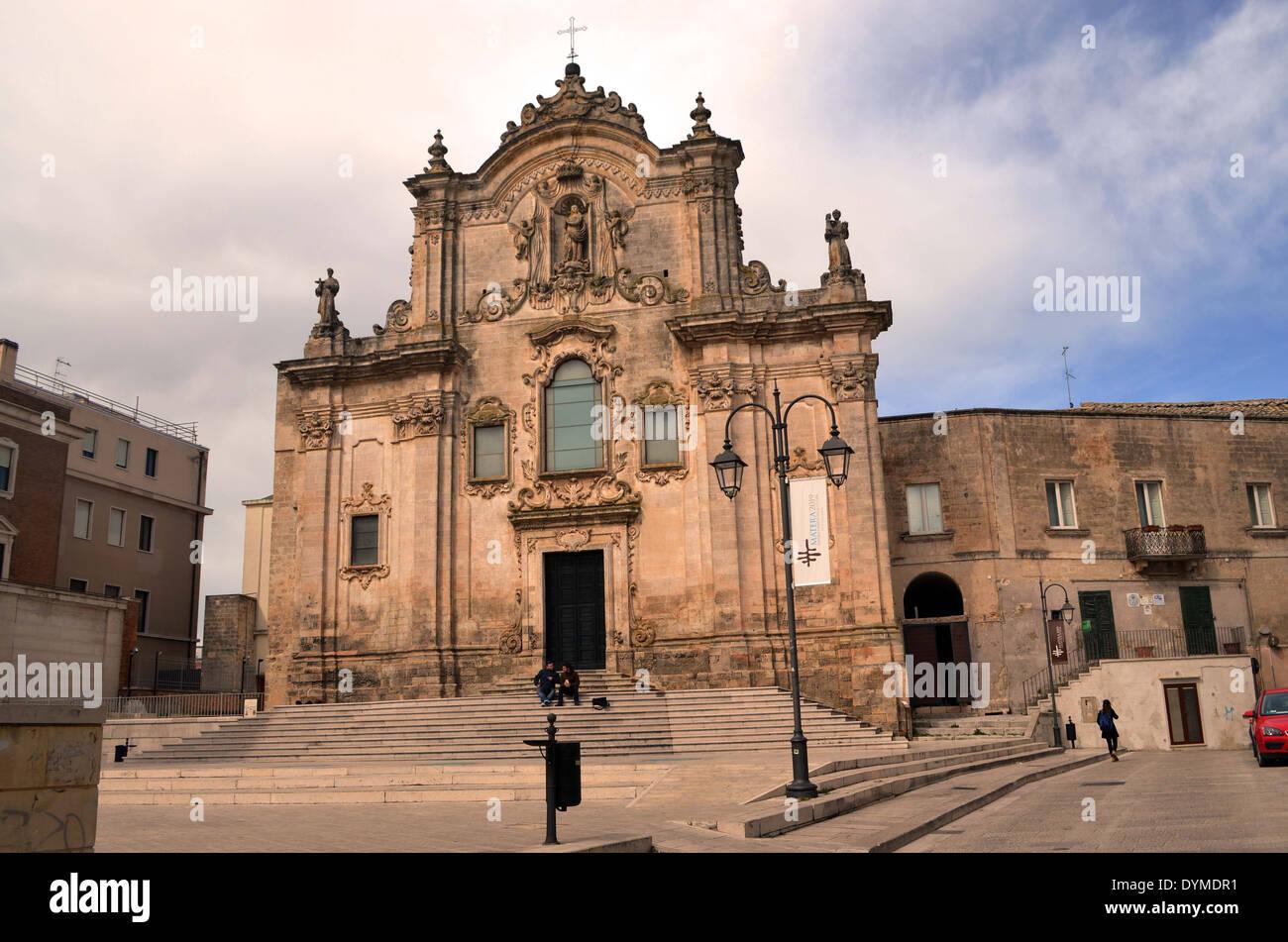 Le trogladytic,Matera ville d'Italie du sud compte plus de 80 églises, pic. montre que l'église de San Francesco d'assise.Matera,le tro Photo Stock