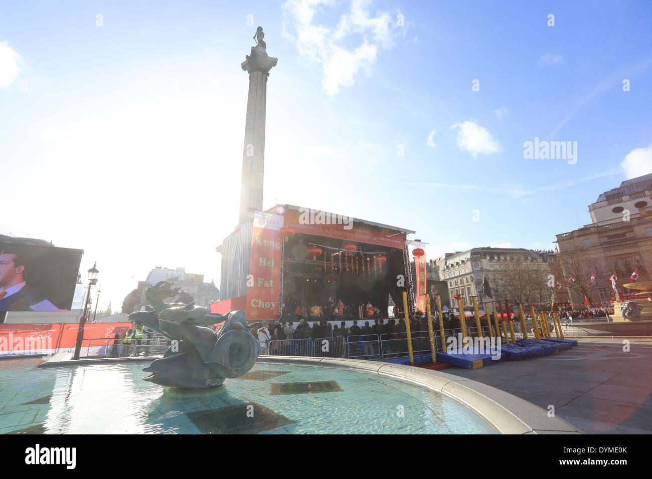 Nouvel An chinois en 2014, année du cheval, à Trafalgar Square, London, England, UK Photo Stock