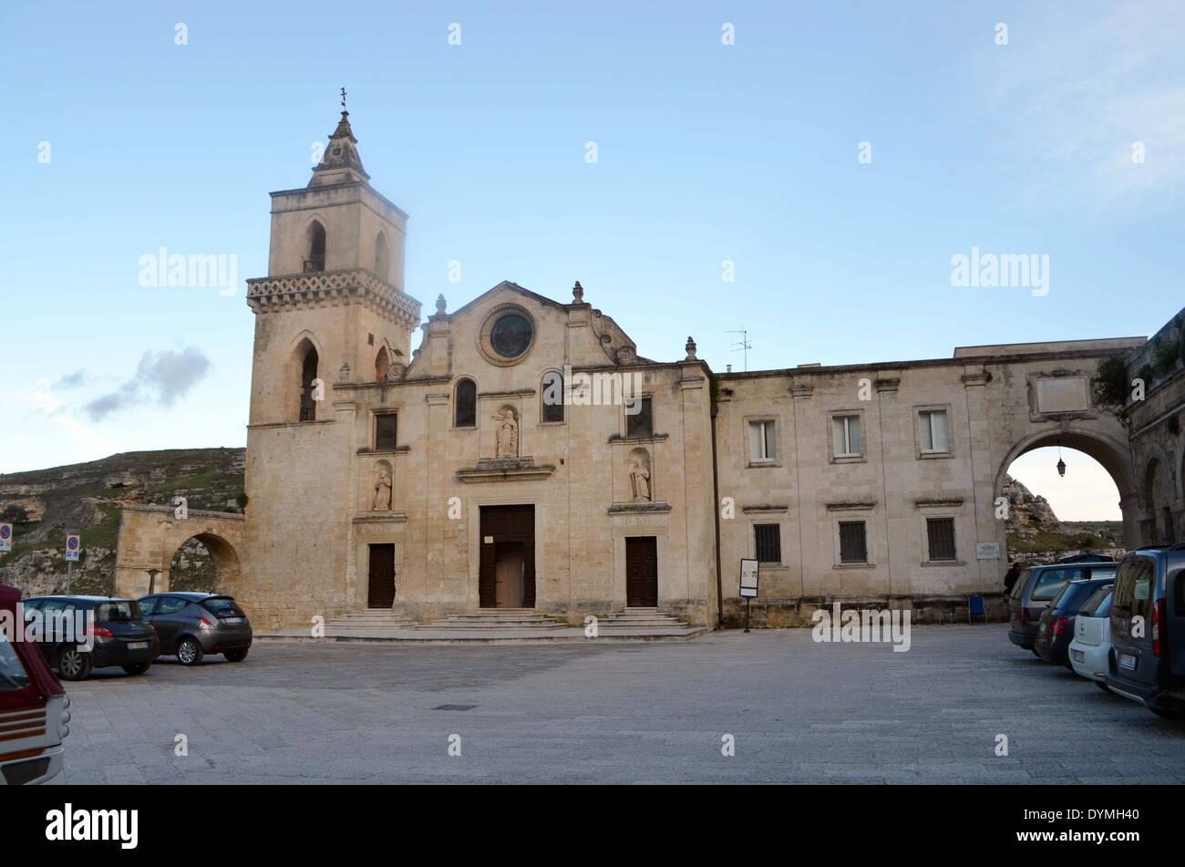 L'église de inMatera,qui a été donné par Newlife 1993donner une nouvelle impulsion à l'action de l'UNESCO grottes habitables Photo Stock