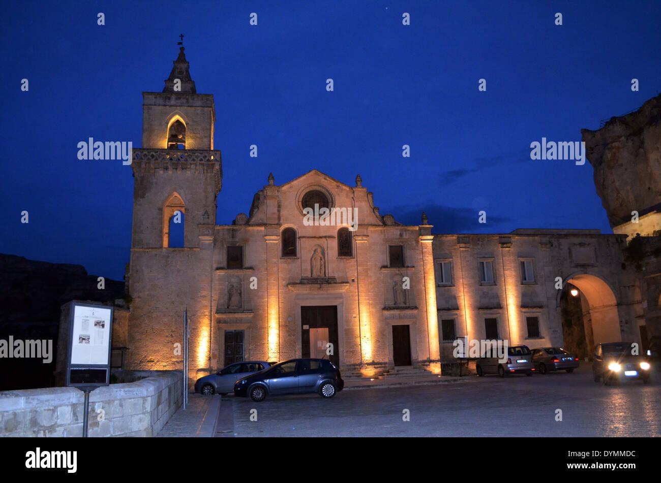 Matera, l'église de . Qui a été donné par la nouvelle vie 1993 Donner une nouvelle impulsion de la ville par l'UNESCO. Photo Stock