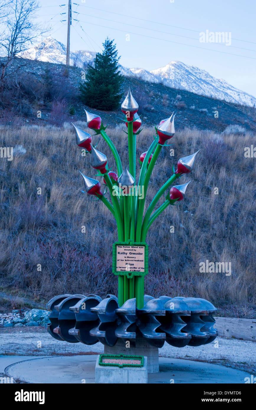 Roue Pelton sculpture, Lillooet, British Columbia, Canada Photo Stock