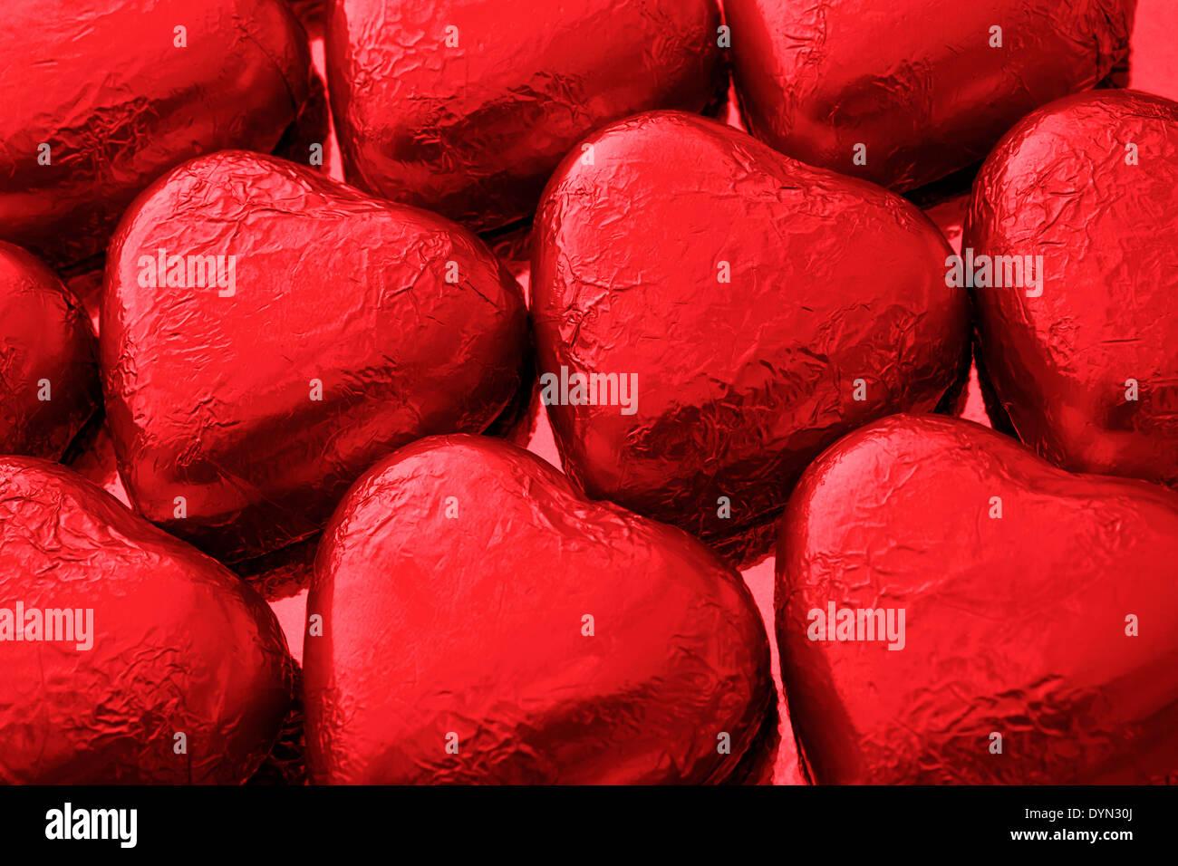 Amour coeur chocolat rouge un grand cadeau d'un chocolatier de luxe pour saint Valentines Day Photo Stock