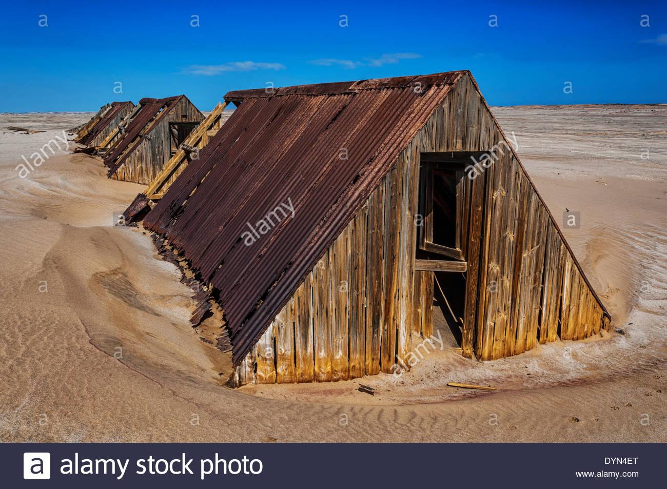 Logement des travailleurs à Charlottenfelder, désert du Namib, Namibie Photo Stock