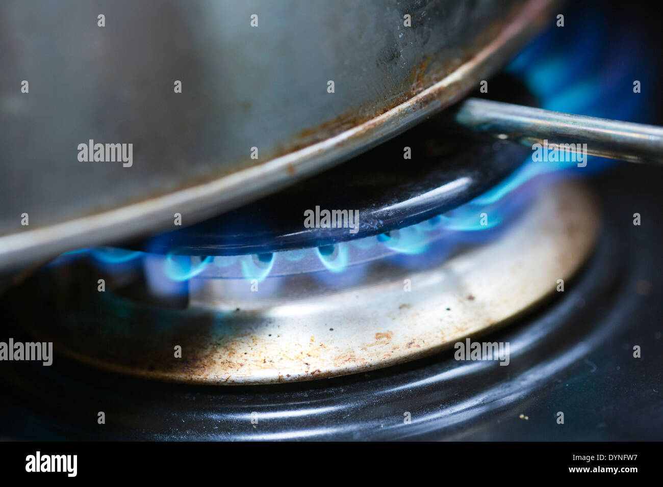 La combustion du gaz ; cuisinière ; UK Photo Stock