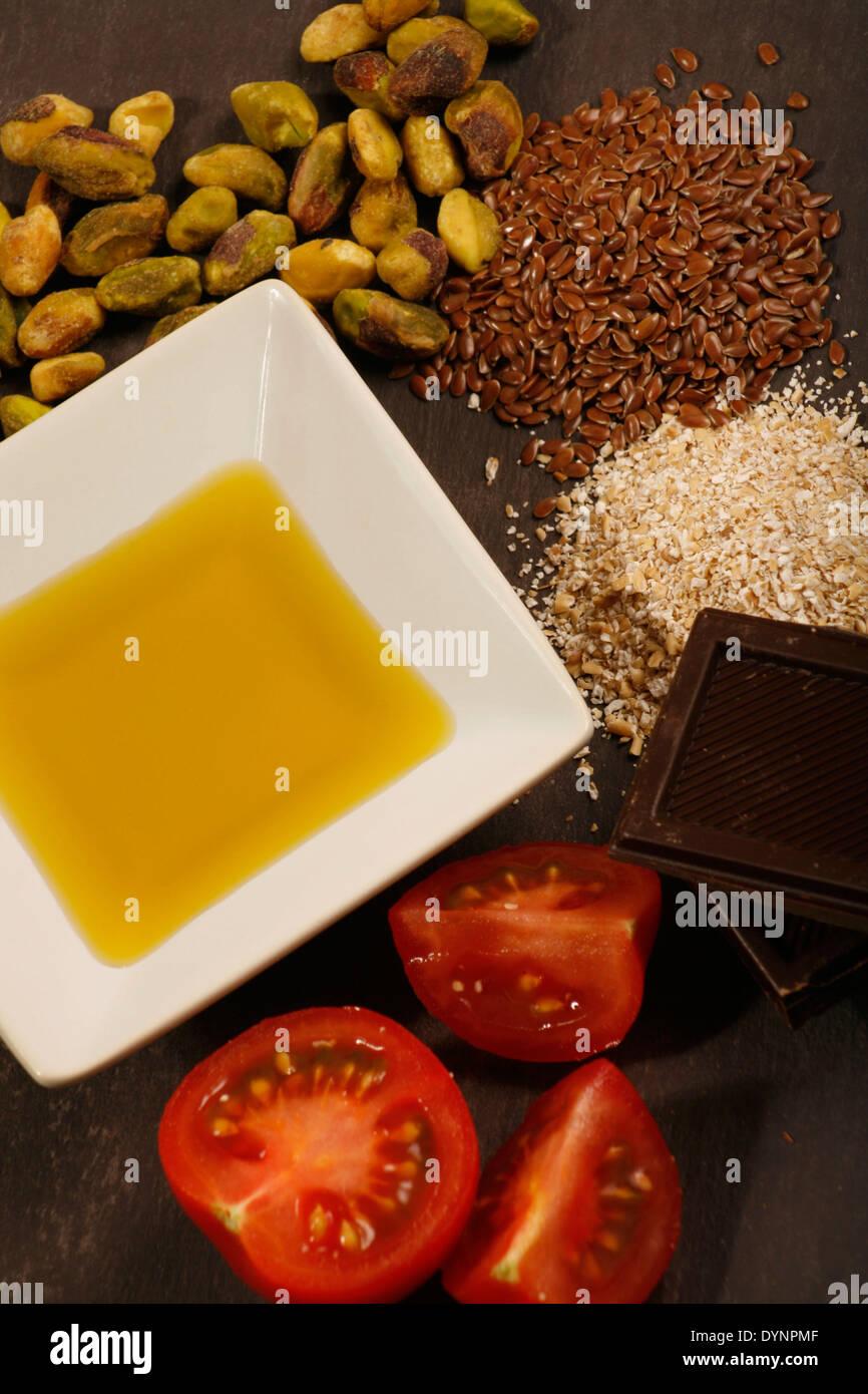 Les aliments à faible teneur en cholestérol Photo Stock