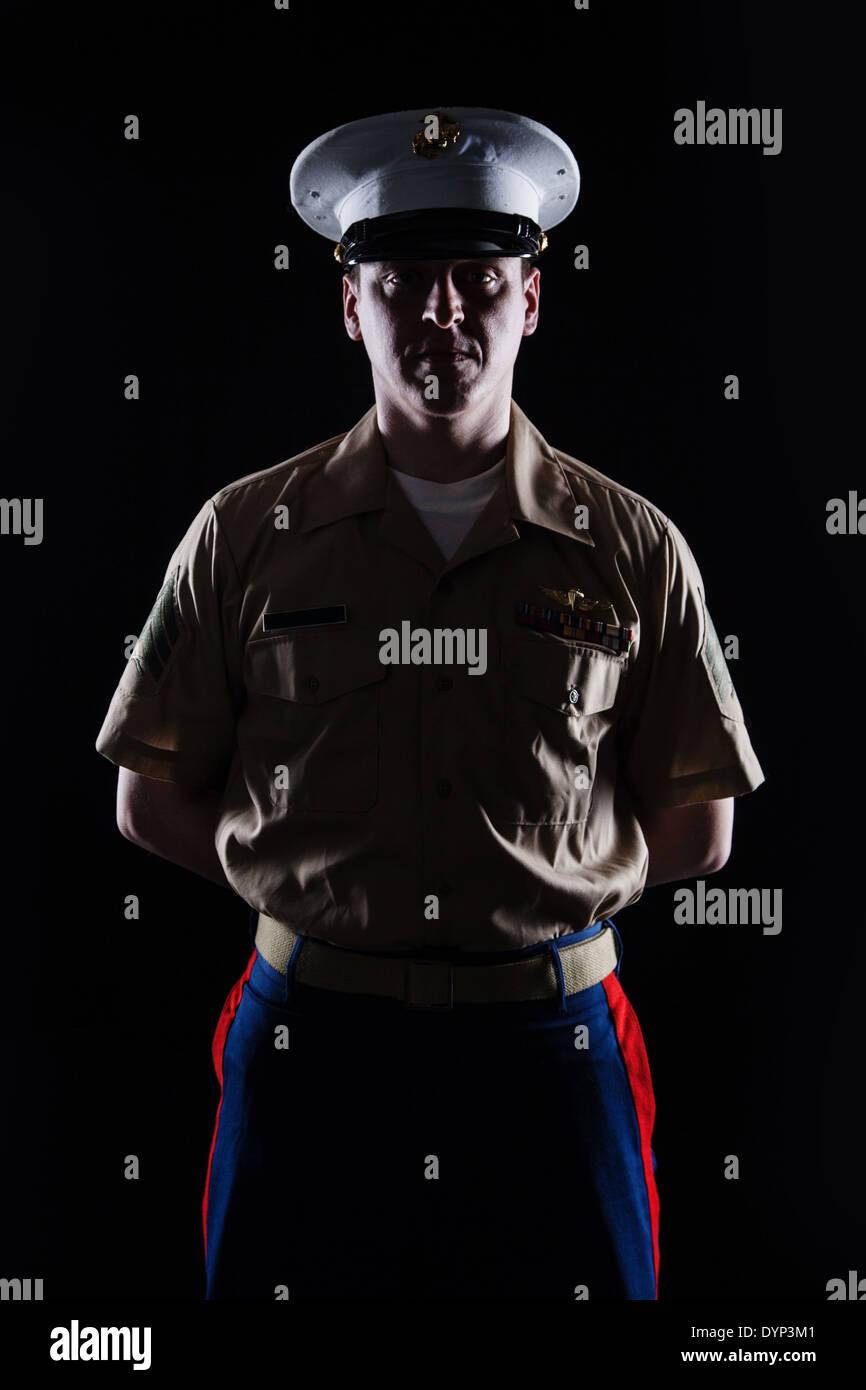 Coup d'entre nous de contour bleu marine en uniforme Photo Stock