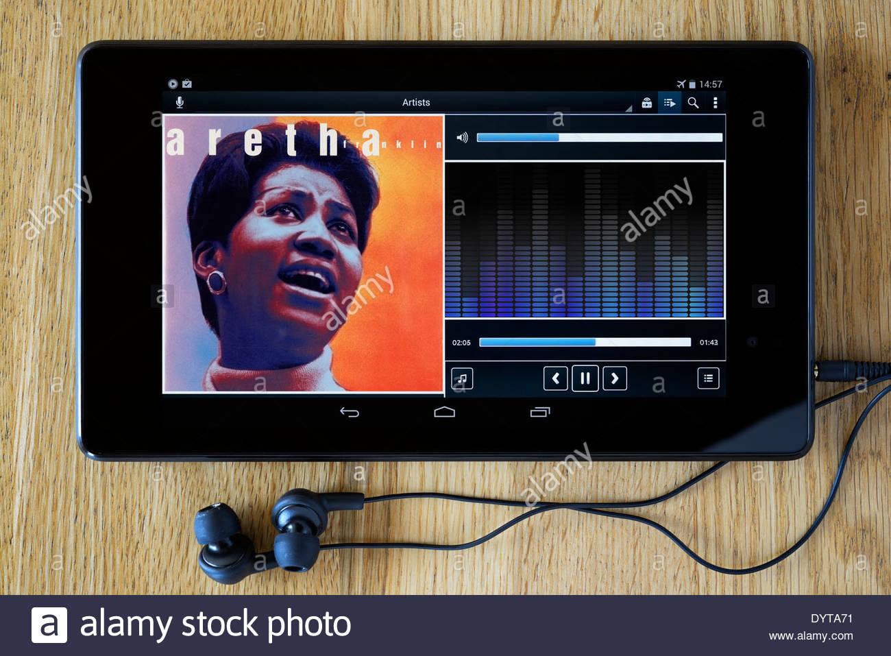 Aretha Franklin MP3 d'album sur Tablet PC, Angleterre Banque D'Images
