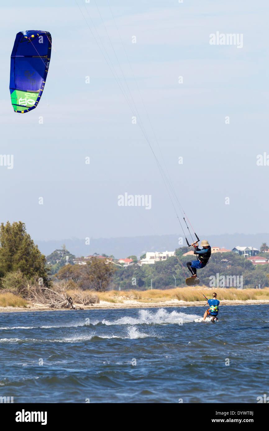 Kite et Wind Surf à Pelican point ouest de l'Australie Perth Photo Stock