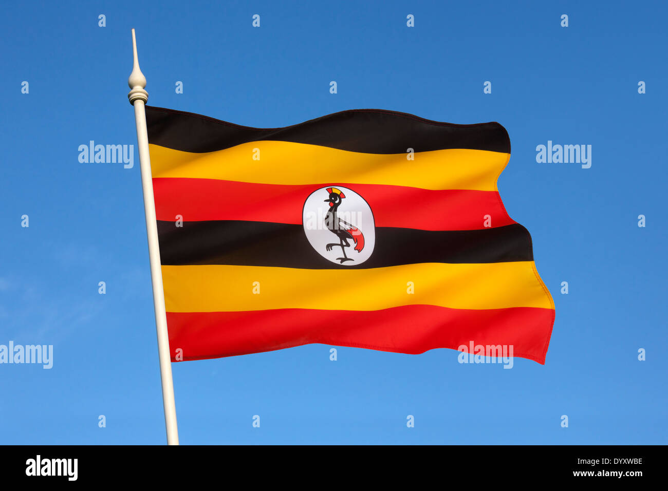 Le drapeau de l'Ouganda Photo Stock