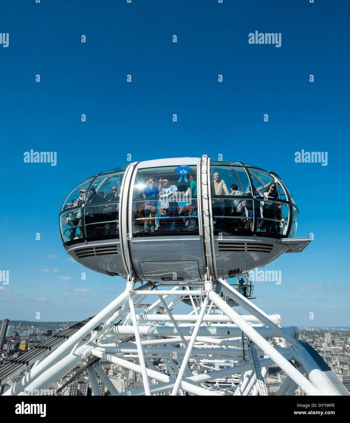 London Eye ou roue du millénaire à Londres, Royaume-Uni Banque D'Images