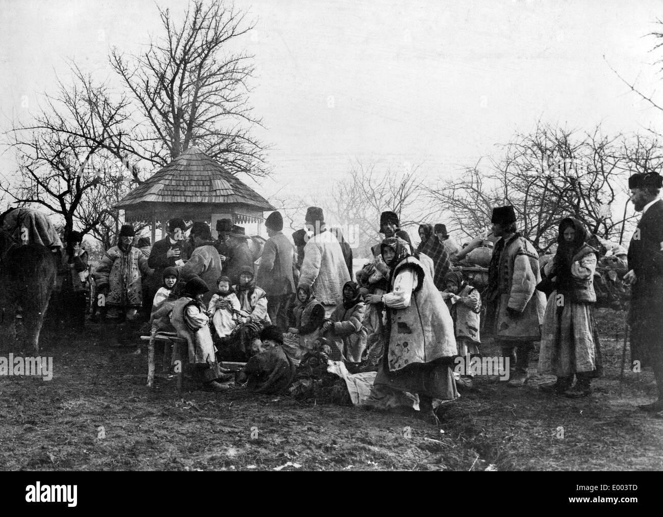 Le ruthène familles de réfugiés, 1915 Banque D'Images