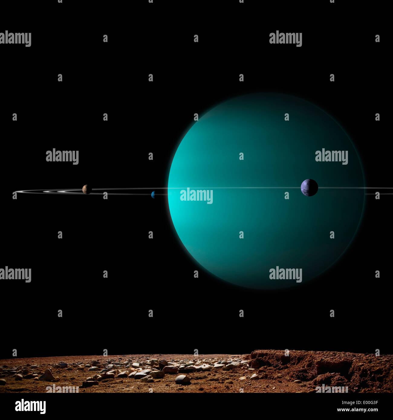 Représentation de l'artiste d'une planète géante gazeuse entourée par c'est lunes. Photo Stock