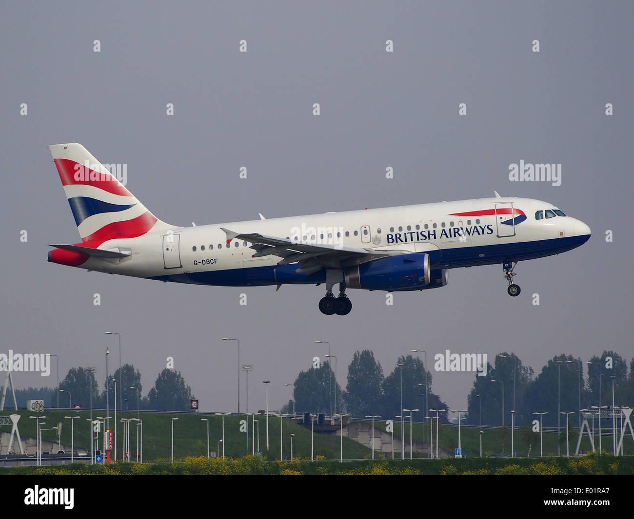 G-DBCF British Airways Airbus A319-131 à l'atterrissage à Schiphol (AMS - EHAM), Pays-Bas Photo Stock