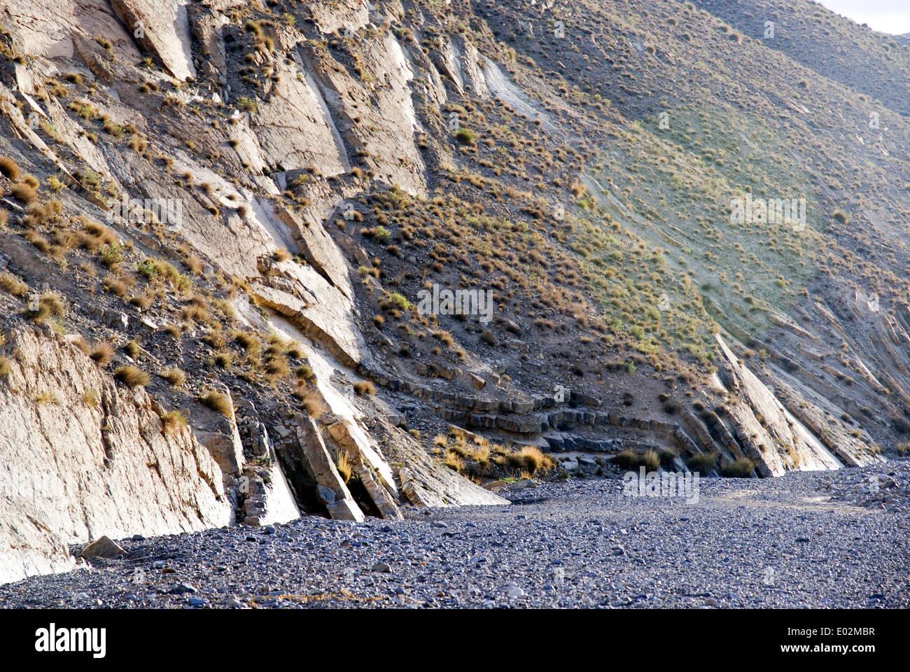 Géologie - faille de décrochement. Photographié au Maroc Photo Stock