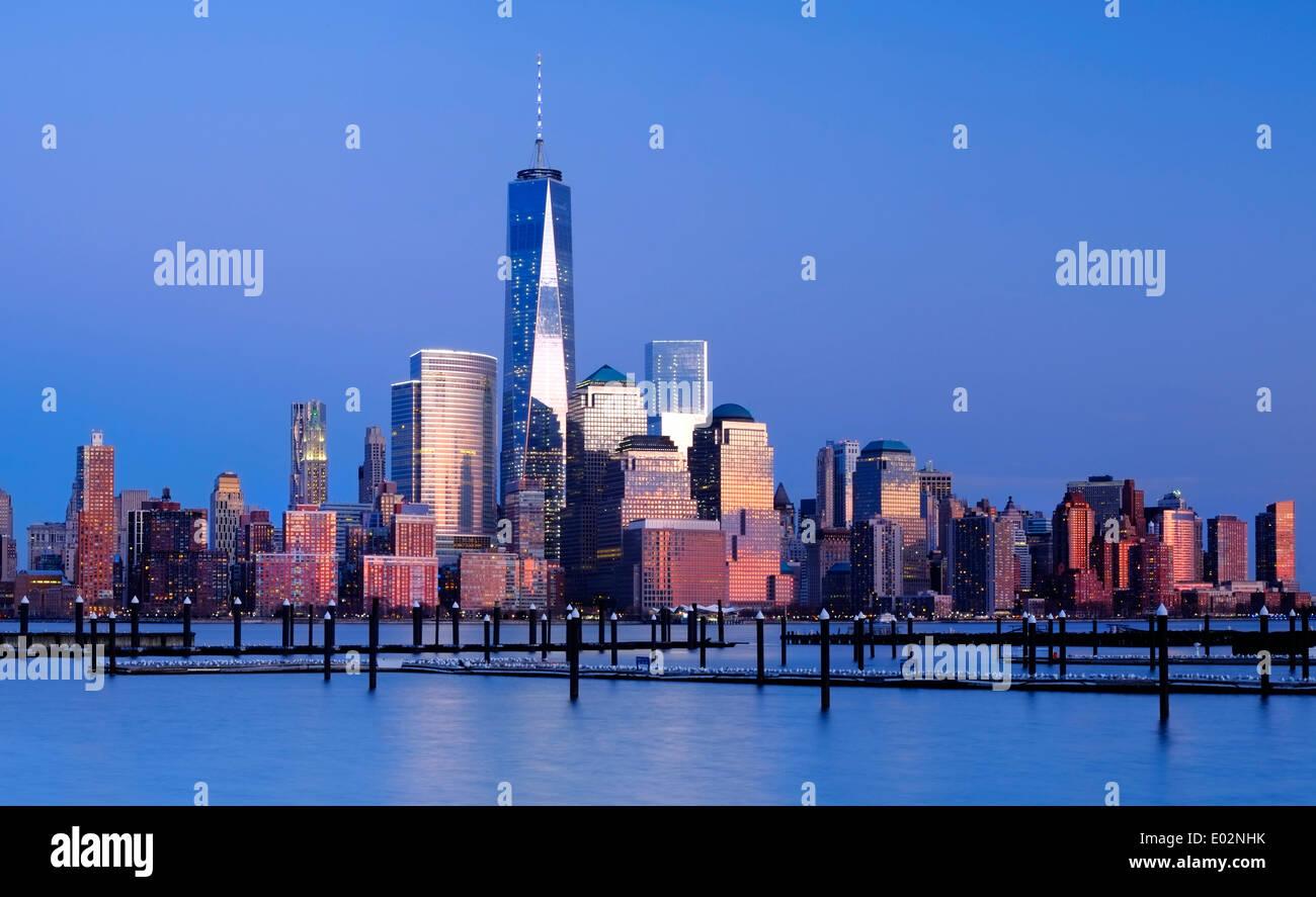 New York Skyline Vue sur le fleuve Hudson, New York, USA Photo Stock