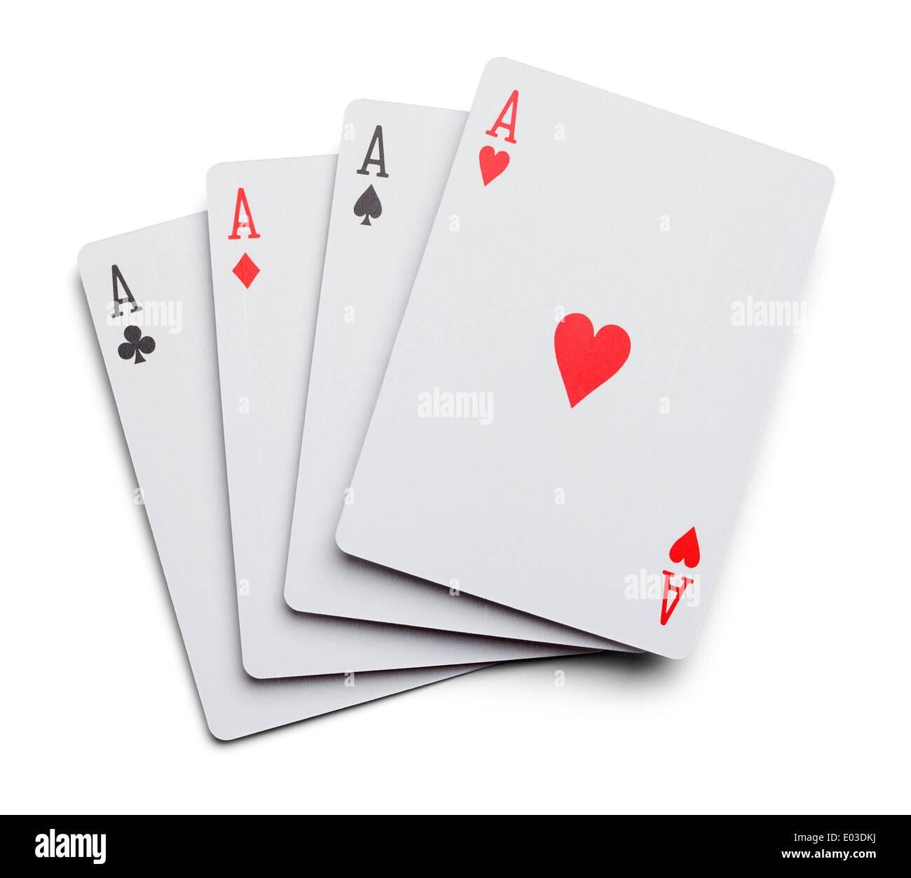Quatre As Cartes à Jouer isolé sur fond blanc. Photo Stock