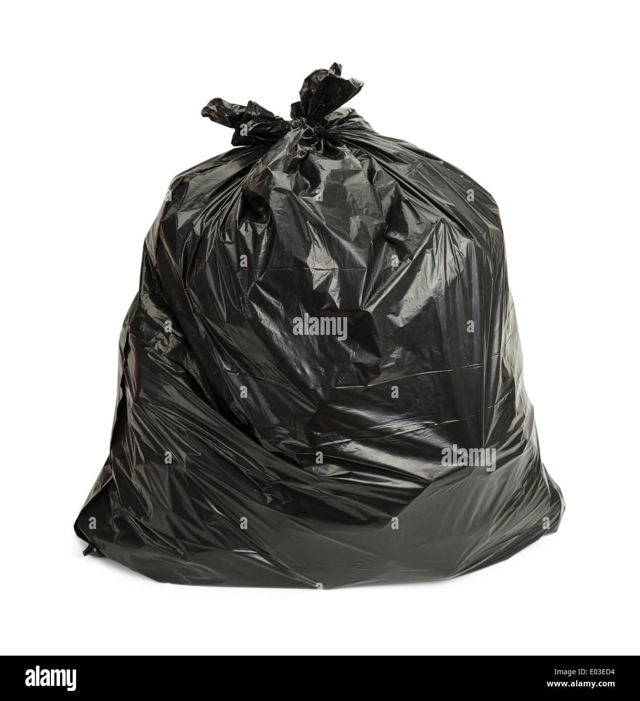 Sac poubelle plein isolé sur fond blanc. Photo Stock
