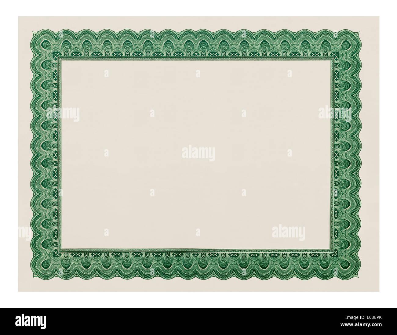 Certificat avec copie espace isolé sur fond blanc. Photo Stock