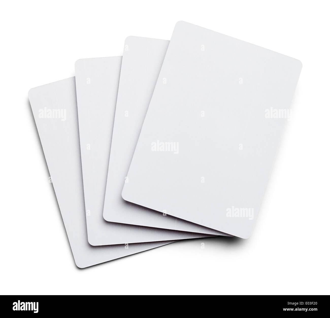 Quatre cartes de poker en blanc isolé sur fond blanc. Photo Stock