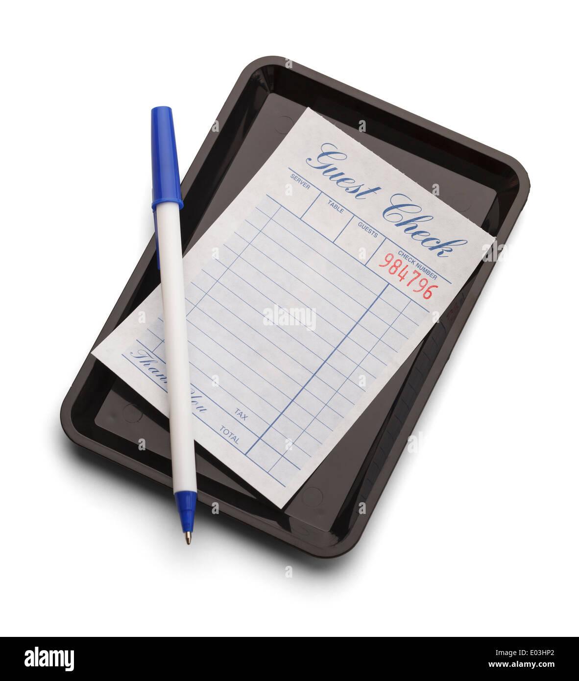 Bac noir bleu avec stylo et vérifier isolé sur un fond blanc. Photo Stock