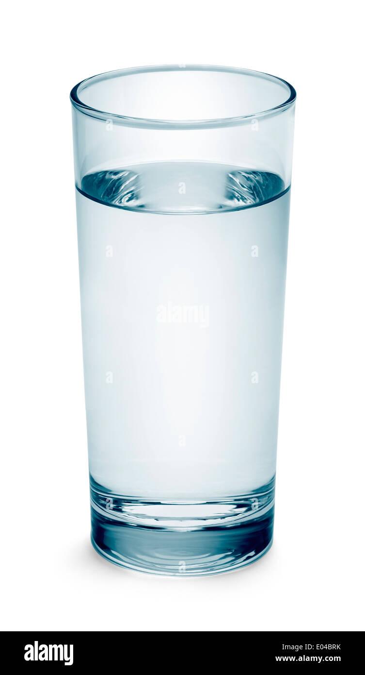 Grand Verre d'eau bleue isolé sur fond blanc. Photo Stock