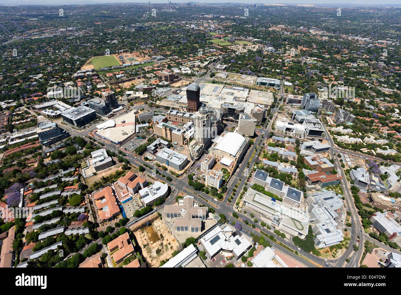 Vue aérienne de Sandton, immeubles de grande hauteur, Johannesburg, Afrique du Sud. Photo Stock