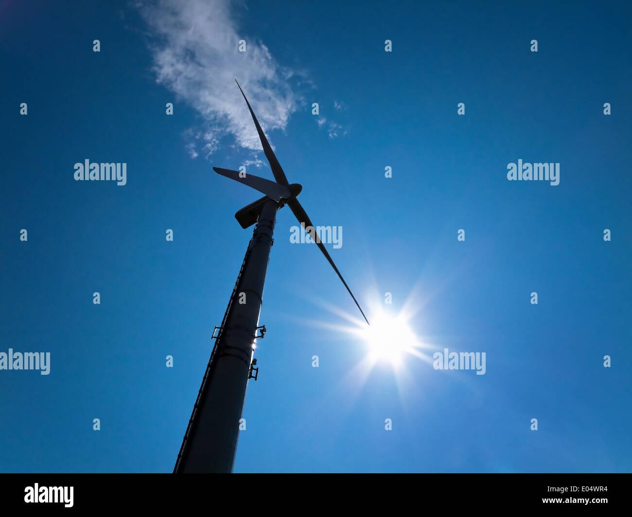 Alternative de l'énergie éolienne l'énergie éolienne de flux par Hmmel Windenergie-Alternative avec blue, Strom Energie durch Windrad mit b Photo Stock