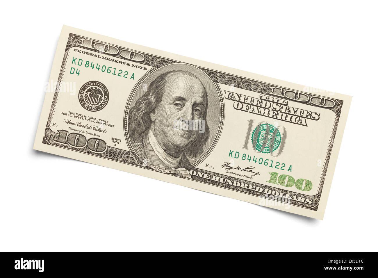100 dollar bill isolé sur un fond blanc. Photo Stock